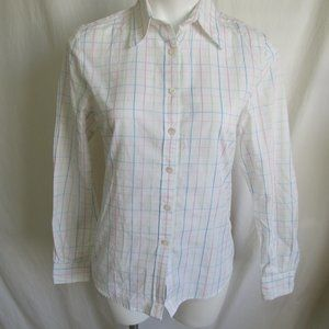 Faconnable White Check Blouse Women's S